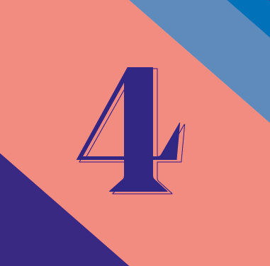 The number '4' in dark blue with an outline against a pink background.