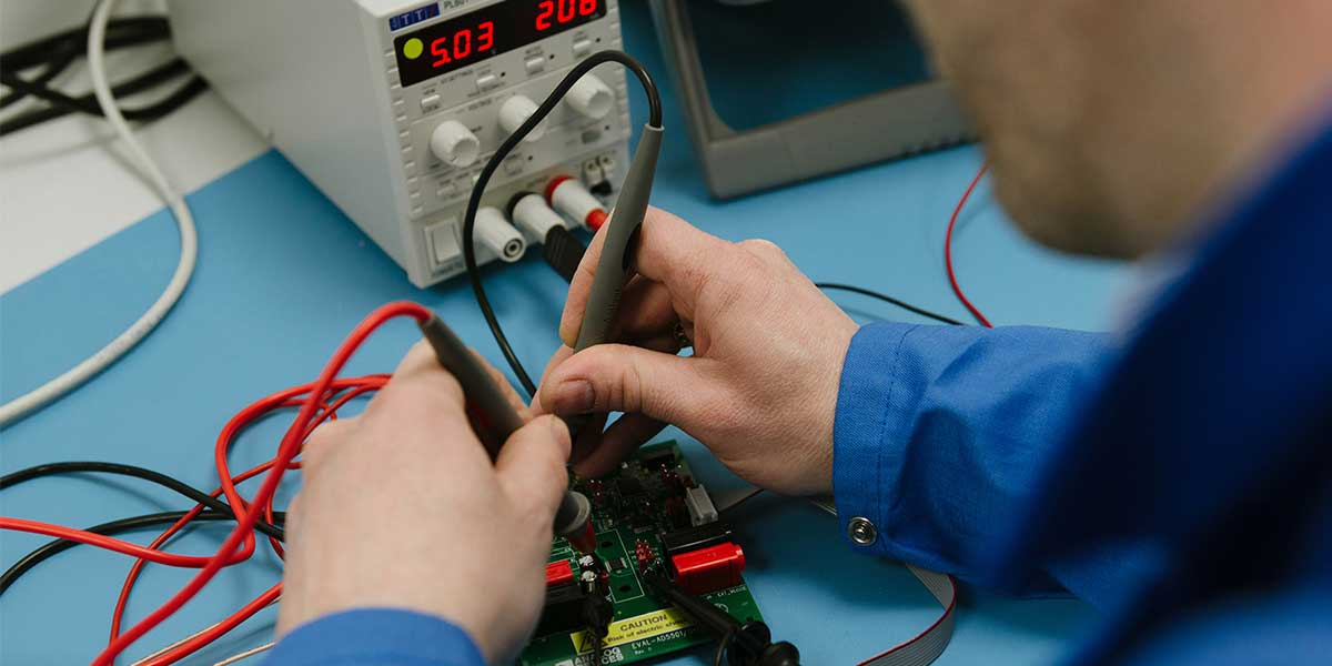A printed circuit board undergoing testing.