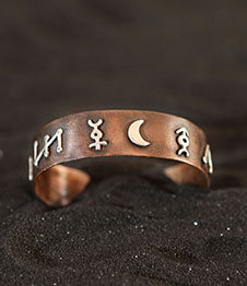 Telos Magic Picatrix Figures Of The Seven Planets Bracelet Copper with Silver Above View