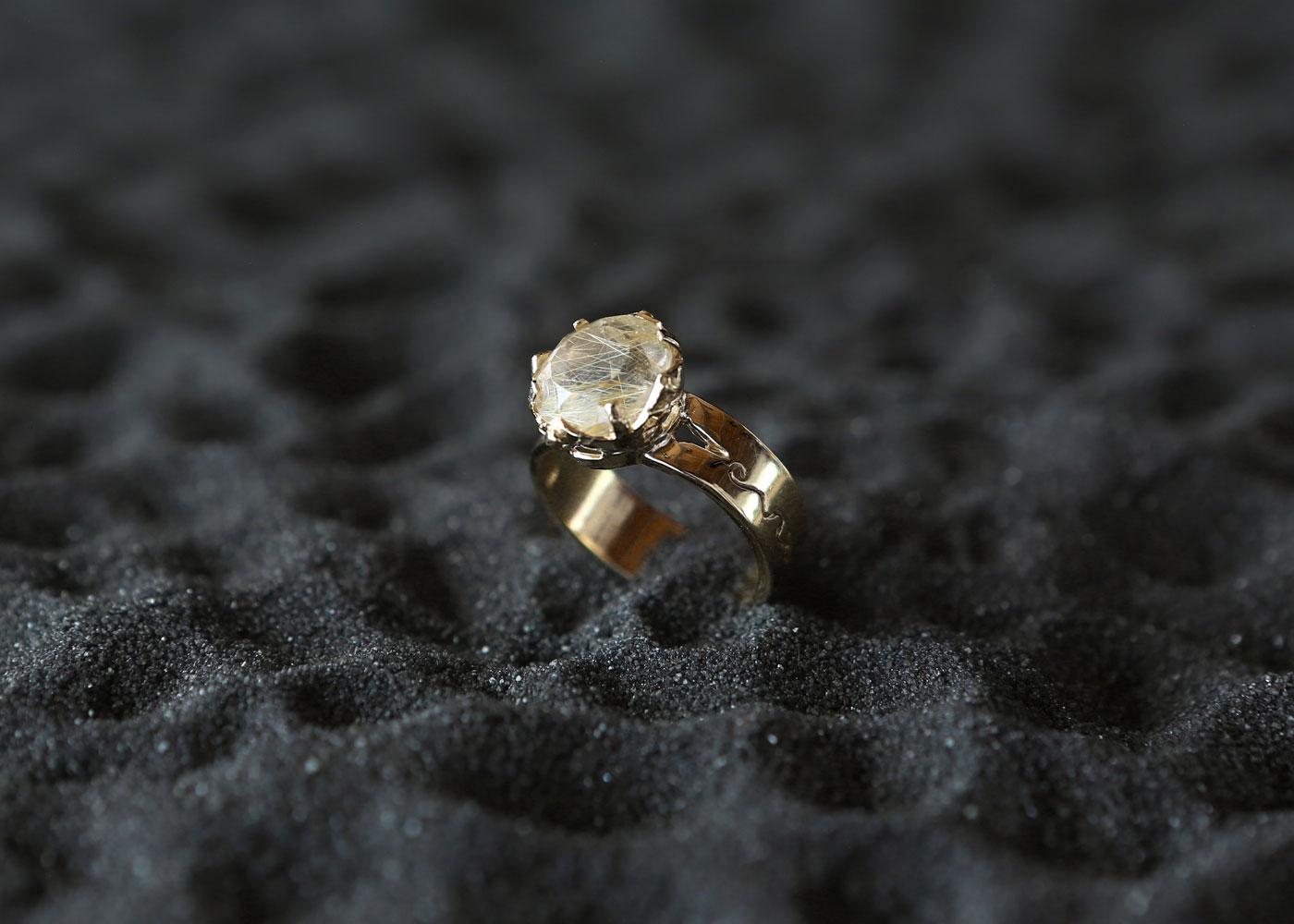 Telos Magic Sun Ring Gold Above View