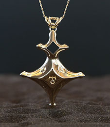 Telos Magic Uranus Talisman Pendent Gold plated Silver Front View