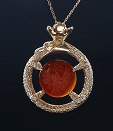 Telos Magic Ouroboros Amulet Gold Front View
