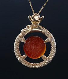 Telos Magic Ouroboros Amulet Gold Front View