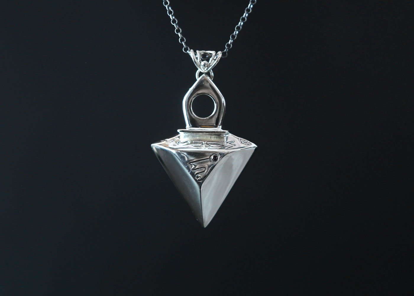 Telos Magic Mars Talisman Silver Front Black View