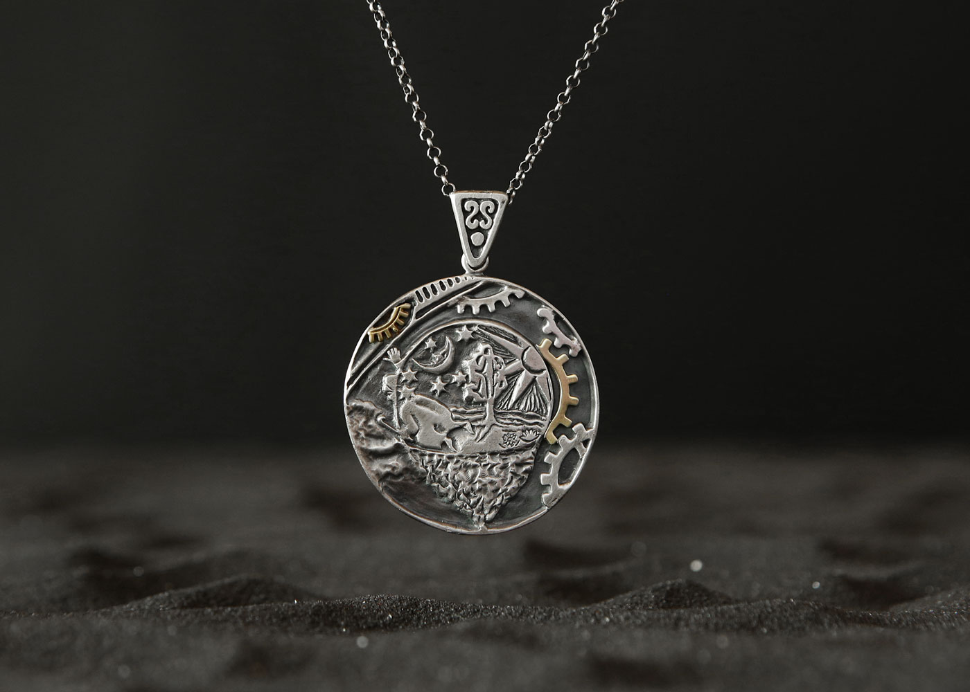 Telos Magic The 'Flammarion Engraving' Pendant Front Side Sand