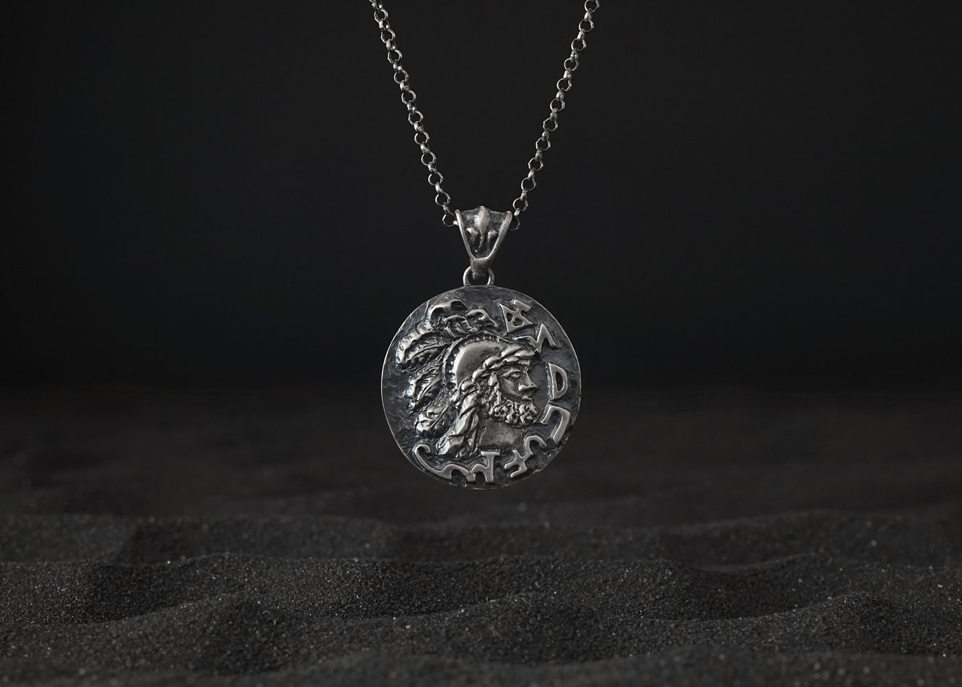 Telos Magic Mars In Scorpio Talisman Silver Front View