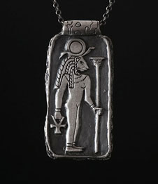 Sekhmet The Egyptian Goddess Amulet Silver Front Black