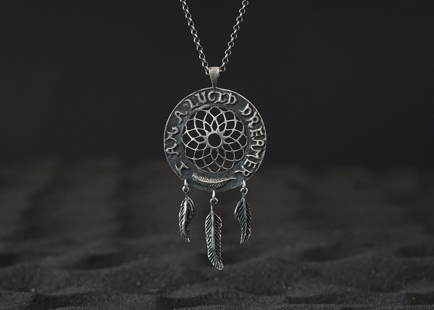 Telos Magic Lucid Dream Pendant Silver Front Sand View