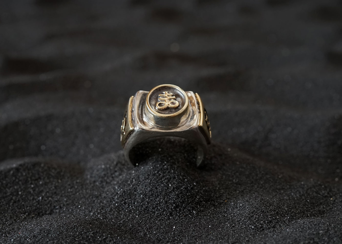 Telos Magic The Alchemical Ring Silver And Gold Front View