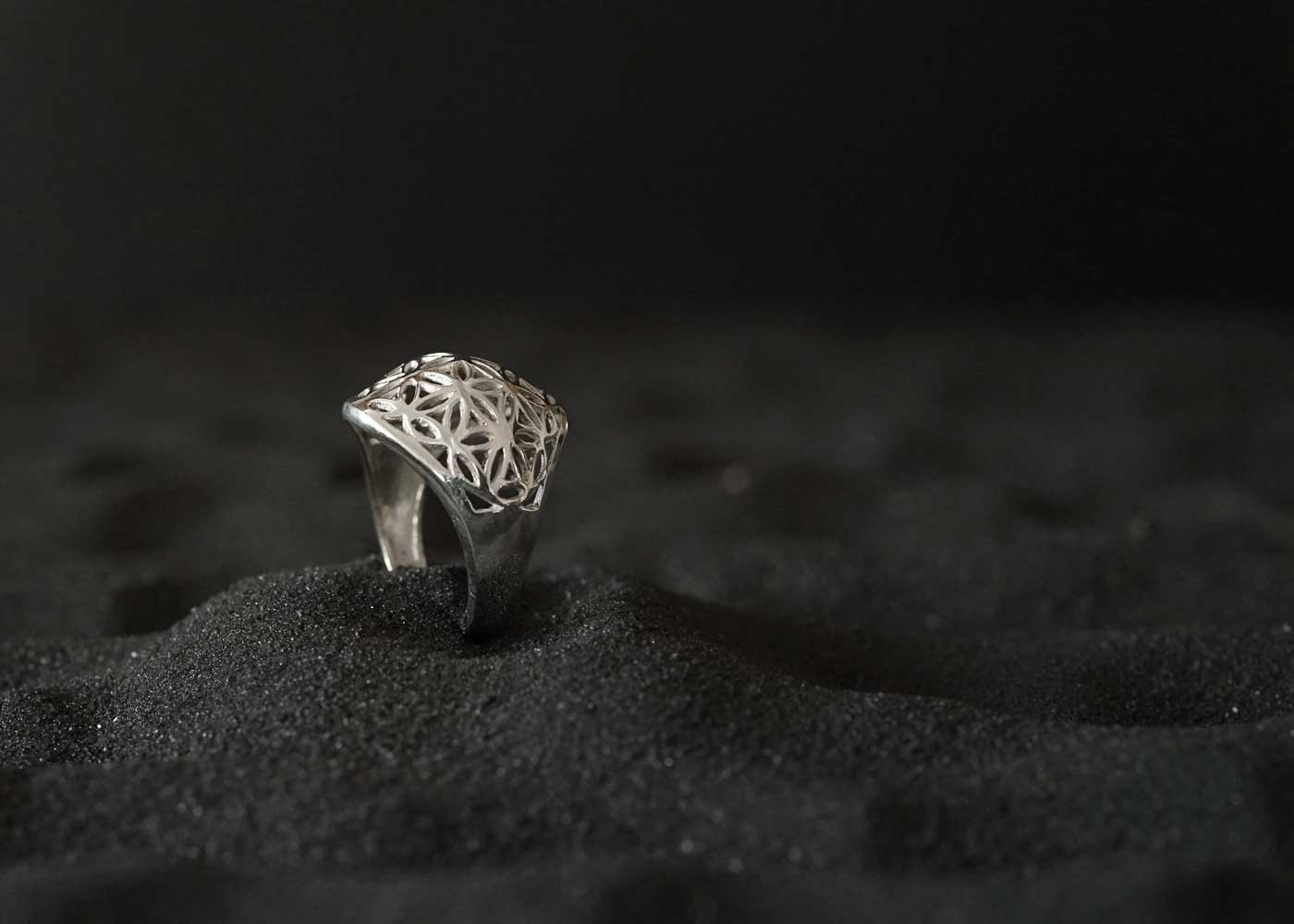 Telos Magic Seed Of Life Silver Ring 2 Side View1