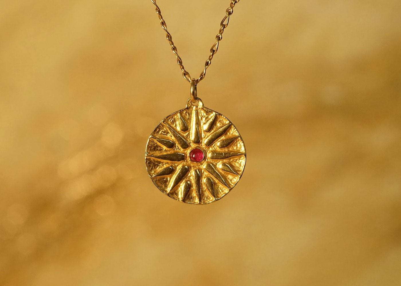 Telos Magic Sun Talisman Gold Front View
