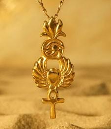 Telos Magic Gold Egyptian Symbols Pendant Front Sand