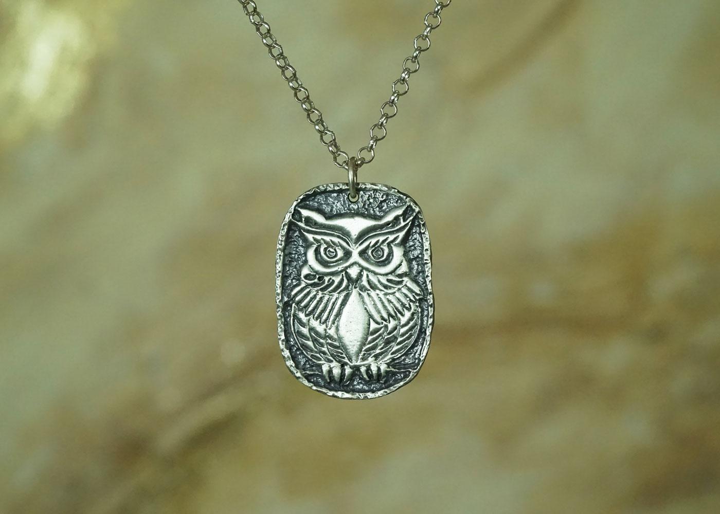 Telos Magic Shamanic Owl Silver Front View