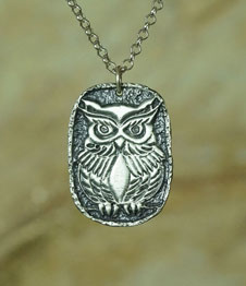 Telos Magic Shamanic Owl Silver Front View