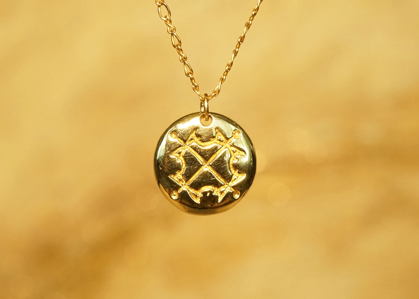 Telos Magic Sun Sigil Talisman Gold Front