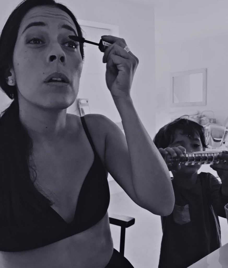 Mothers Who Make: Self-portrait, Jimena-Larraguivel and Luken, actor. Getting ready for an audition.
