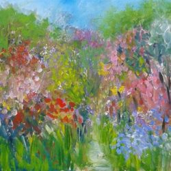 textured painting of english garden