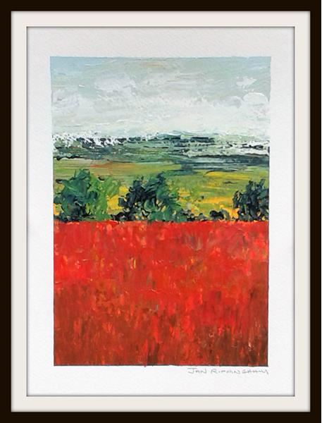 red poppy field painting