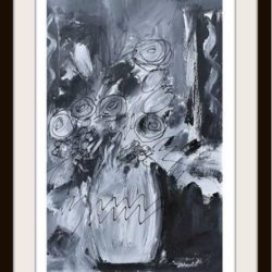 monochrome floral painting