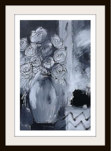 monochrome floral painting