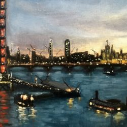 river thames evening painting for sale