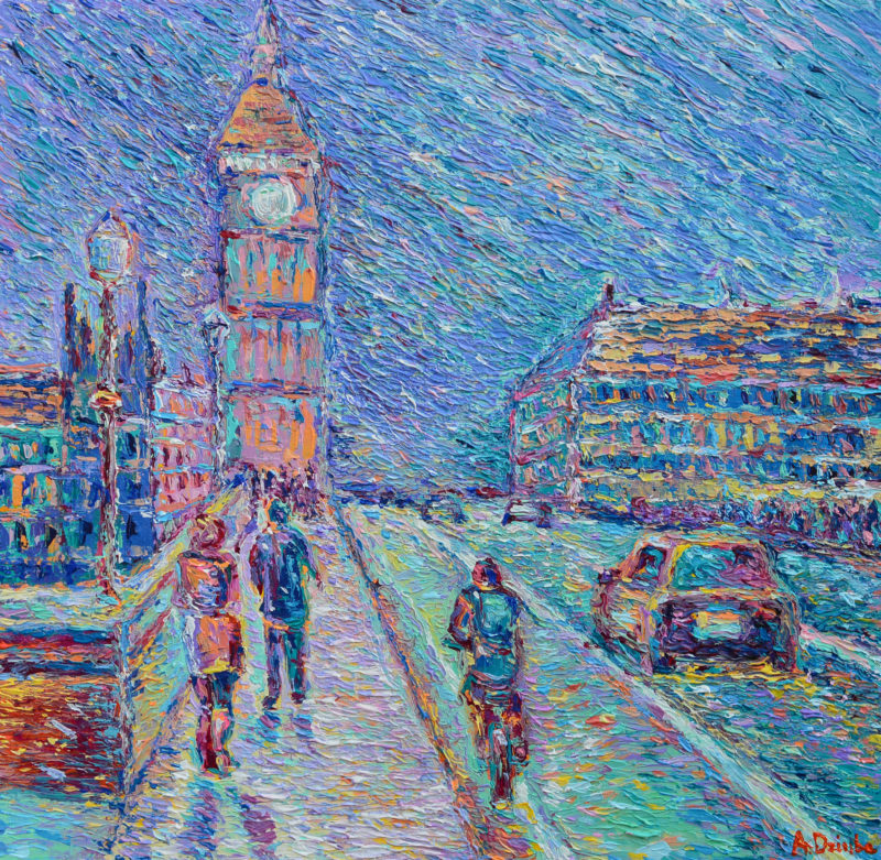 Streets of London, original painting, palette knife urban city architecture, blue artwork by Adriana Dziuba