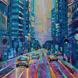 Streets of San Francisco, original painting, acrylic, palette knife, urban city landscape, bright, contemporary abstract impressionism artwork by Adriana Dziuba