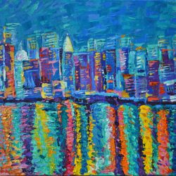 New York City Skyline, original painting abstract acrylic palette knife bright manhattan cityscape night blue artwork by Adriana Dziuba