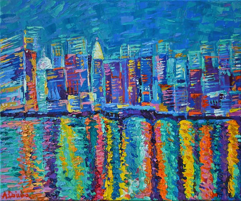 New York City Skyline, original painting abstract acrylic palette knife bright manhattan cityscape night blue artwork by Adriana Dziuba