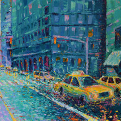 Rainy Day in New York , original painting palette knife acrylic manhattan urban city landscape architecture yellow cab rain impressionism artwork Adriana Dziuba