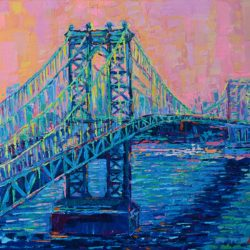 Manhattan Bridge at Sunset, original painting abstract palette knife urban New York city architecture landscape artwork by Adriana Dziuba