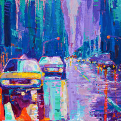 Streets of New York 2, original painting palette knife urban city modern abstract acrylic artwork by adriana Dziuba