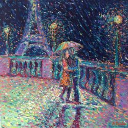 Lovers in Rainy Paris, original painting, palette knife impressionism abstract modern figurative city landscape night scene artwork by Adriana Dziuba