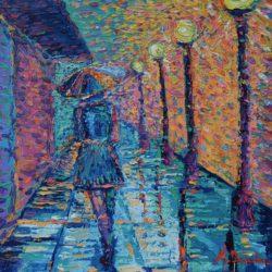 Girl with Umbrella #2 Original painting, palette knife figurative city landscape modern impressionism girl walking a dog with umbrella at rainy weather artwork by Adriana Dziuba