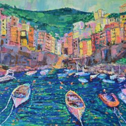 Fishing Boats of Riomaggiore, Original painting, palette knife, costal seascape inspired by beautiful port town of Riomaggiore and its colourful fishing boats of the dramatic Cinque Terre coast in the east of the Liguria region of Italy, artwork by Adriana Dziuba