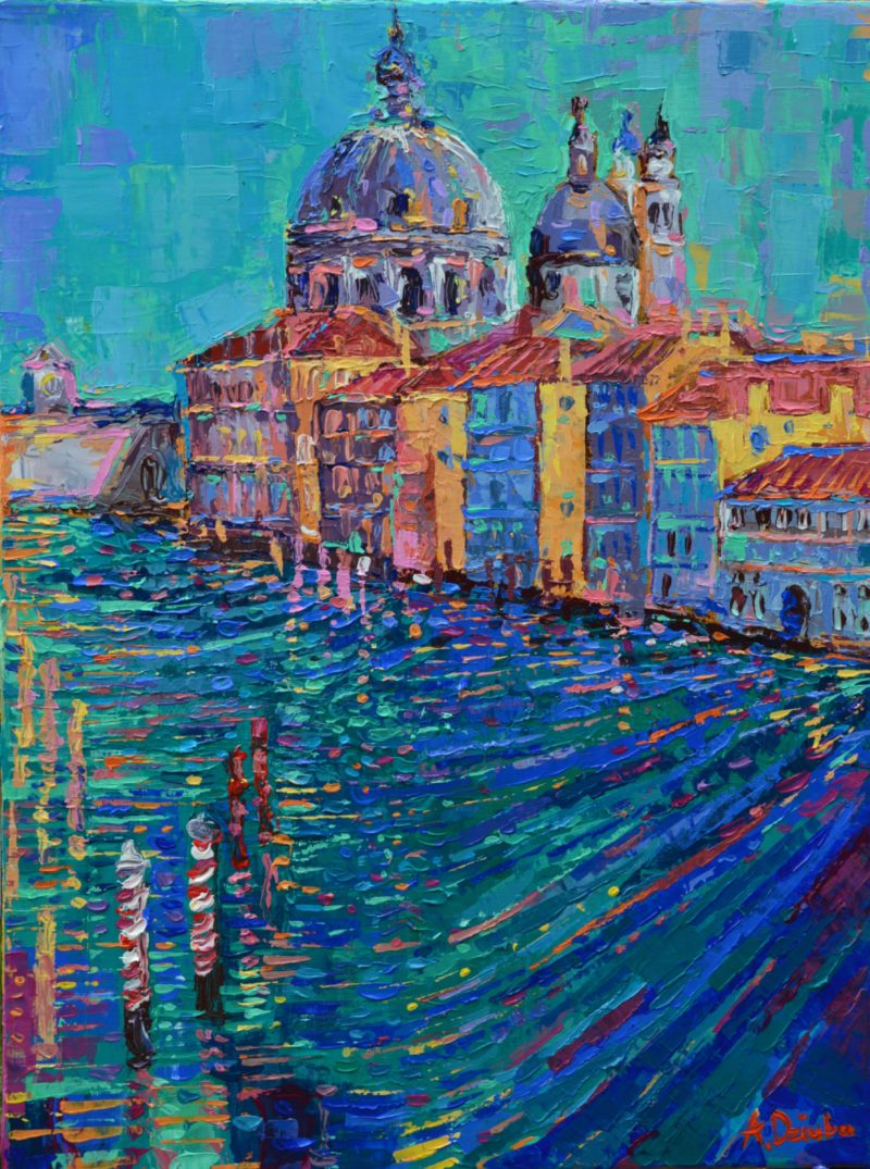 Venice original painting modern, palette knife city landscape inspired by beautiful Venice with Santa Maria Della Salute in the distance artwork by Adriana Dziuba