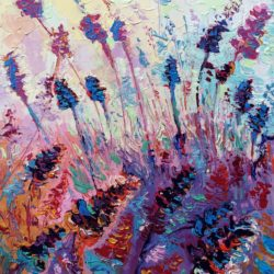 Purple Provence, Original painting, contemporary, abstract impressionism, palette knife floral landscape artwork by Adriana Dziuba