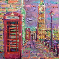 London City Life, original painting, one of a kind, palette knife, impressionistic, city landscape inspired by beautiful and vibrant streets of London by Adriana Dziuba