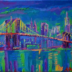 New York City at Night - modern, original, impressionistic, palette knife, acrylic city painting of New York Skyline and the Brooklyn Bridge at night, one of the oldest and most beautiful bridges in the United States.