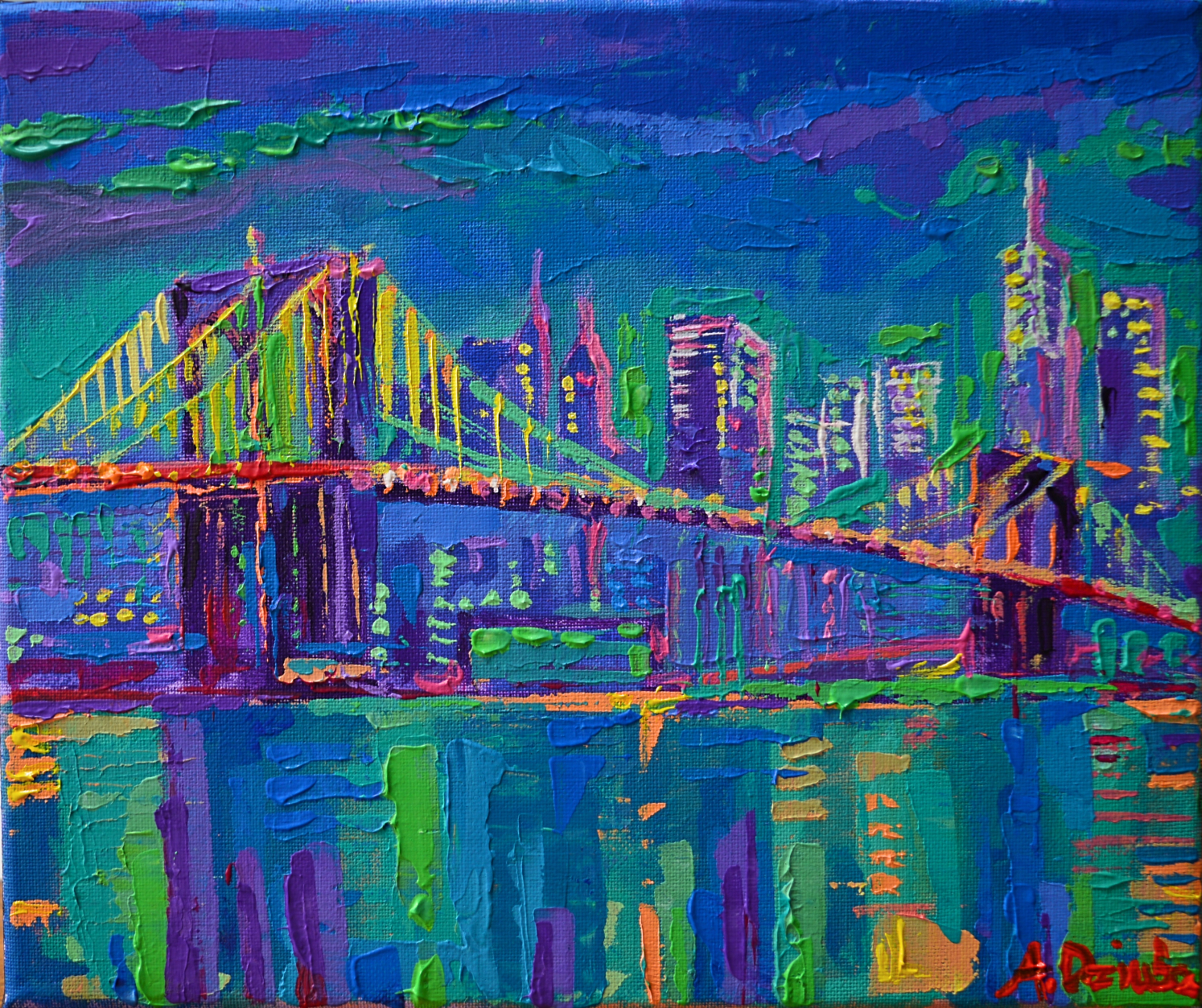 New York City Night Lights Cityscapes Art Rippingham Art