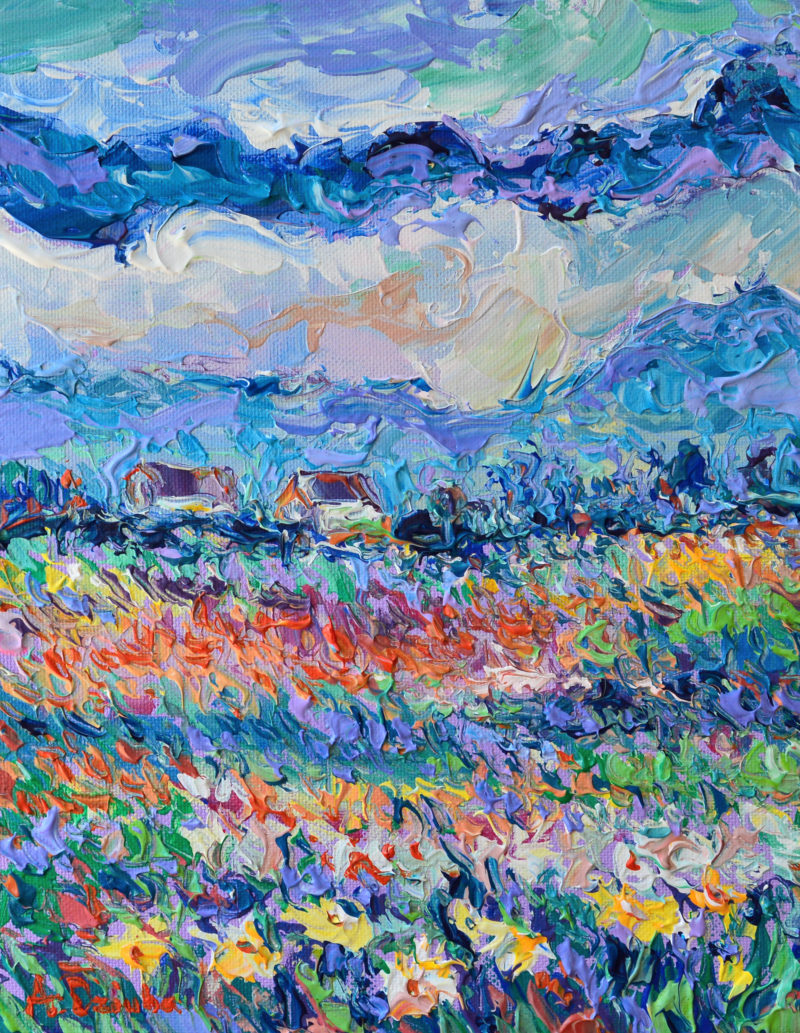 Summer Meadow, One of a kind small, original, palette knife floral landscape inspired by vibrant meadow of summer flowers by Adriana Dziuba
