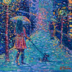 Girl with Rainbow Umbrella 2, modern, impressionistic, palette knife, acrylic painting of a girl with umbrella walking a dog in rainy evening weather by Adriana Dziuba