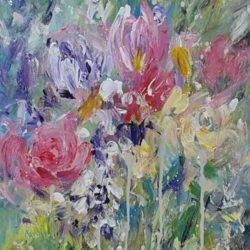 floral flowers garden painting by Jan Rippingham affordable art under £100