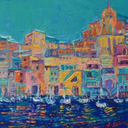 """Bay of Naples #3"" is original, one of a kind, palette knife city landscape painting on deep edge canvas by Adriana Dziuba This is a modern painting of Procida, small island in the Bay of Naples in Southern ItalyIy. I love beautiful pastel hued houses and authentic character of this stunning place."