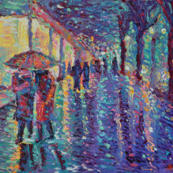 """Rainy Night in the City"" is original, one of a kind, palette knife city landscape inspired by beautiful and vibrant streets of New York This is a romantic figurative city landscape of people walking in the rain."