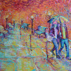 """Walking in Autumn Rain"" – Original, one of a kind, contemporary palette knife figurative city landscape on deep edge canvas. This is a romantic figurative painting of couple of lovers walking holding hands in the park at rainy autumn evening."