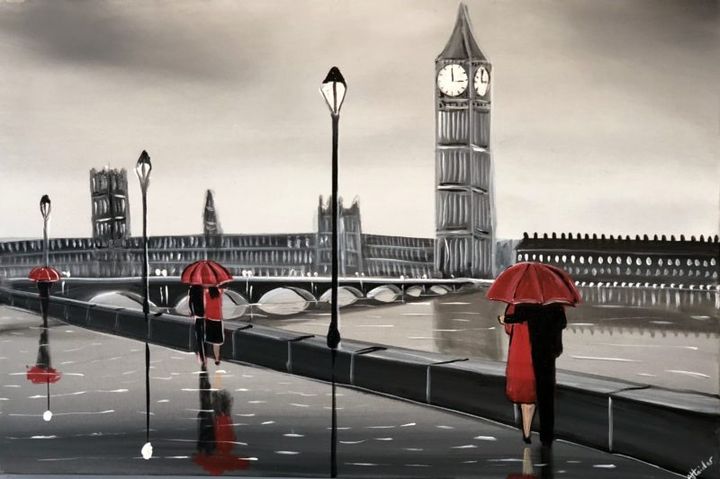 rainy london with river thames painting