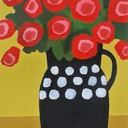 Red flowers in black vase painitng