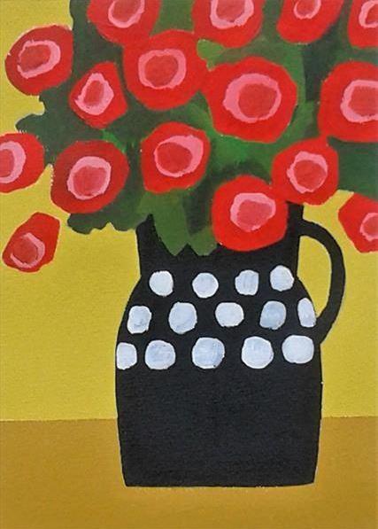 Red flowers in black vase painitng