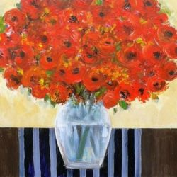 large floral painting by Jan Rippingham